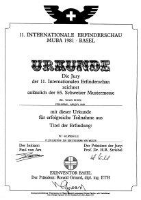 Urkunde der 11. Internationalen Erfinderschau